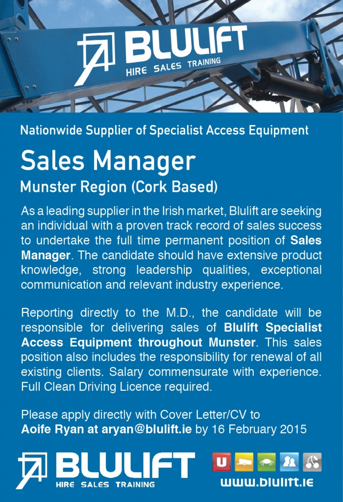 Blulift Sales Manager Ad
